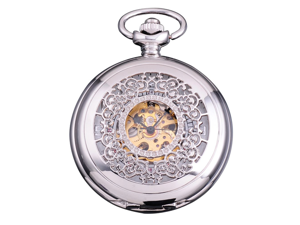 Timebear New Classic Skeleton Case Mens Mechanical Pocket Watch