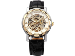 WINNER Skeleton Dial Men Hand-winding Mechanical Black Leather Band Wrist Watch