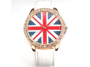 Women Lady Girl Union Jack British Flag White Leather Quartz Watch