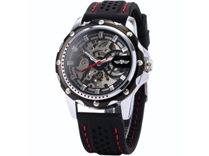 Mens Skeleton Automatic Mechanical Black Silicone Band Sport Wrist Watch