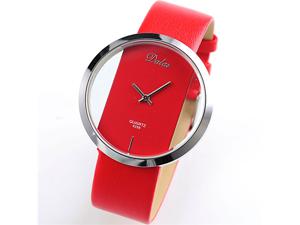 Dalas Red Leather Transparent Dial Fashion Lady Girl Wrist Quartz Watch Gift