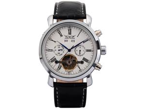 Jaragar Watch PMW017 Elegant Men Leather Automatic Mechanical White Dial Date & Day Wrist Watch