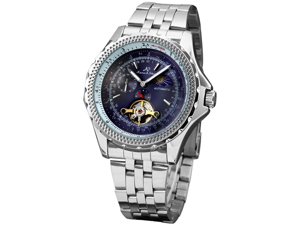 KS Tourbillion Stainless Steel Moon Phase Automatic Mechanical Mens Sport Watch