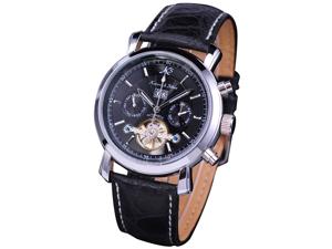 KS KS003 Men's Tourbillion Military Leather Mechanical Watch
