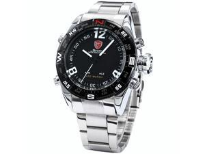 SHARK Mens LED Date Day Digital Silver Stainless Steel Sport Quartz Wrist Watch