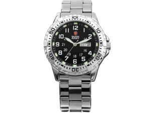 Shark Army Mens Date Day Luminous White Silver Military Sport Quartz Watch + Box
