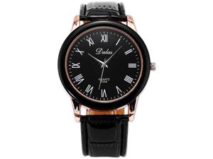 New Black DALAS Rose Gold Bezel Roman Analog Leather Men Sport Quartz Watch Gift