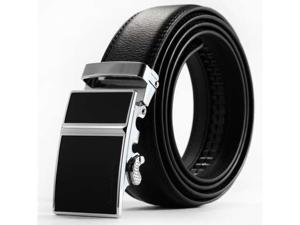 KS Mens Business Dress Suit Black Leather Adjustable Belt With Auto Lock Buckle