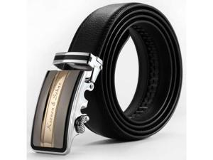 KS Men's Genuine Leather Belt with Auto Lock Buckle