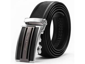 KS Luxury Authentic Black Men's Dress Genuine Leather Auto Lock Buckle Adjustable Belt