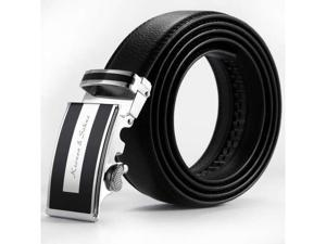 KS Men's Black Dress Adjustable Leather Belt With Auto Lock Buckle Up To 50 In