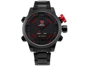 SHARK SH105 Men's LED Date Day Sport Military Stainless Steel Alarm Quartz Wrist Watch -  Black