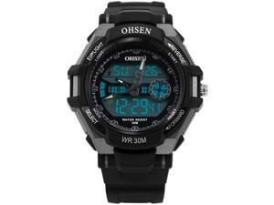 OHSEN Stylish Men's LCD Digital Date Day Analog Alarm Black Rubber Sport Wrist Watch