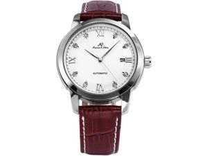 KS Luxury White Dial Date Automatic Mechanical Mens Leather Dress Analog Wrist Watch