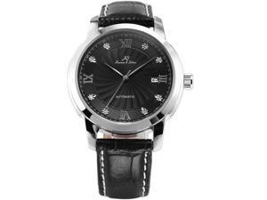 KS Luxury Black Auto Mechanical Date Diamond Mens Leather Dress Analog Wrist Watch