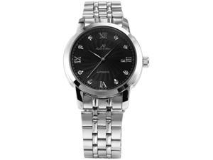 KS Automatic Mechanical Date Mens Stainless Steel Analog Black Dress Watch+Gift Box