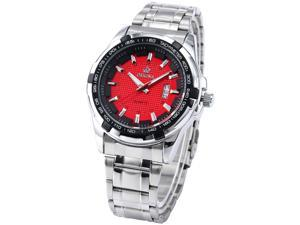 0Unique Men Boy Sport Design Diamond Check Steel Date Display Quartz Watch ORK128