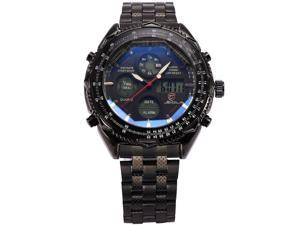 Luxury Mens Shark Dual Time Black Digital LCD Stopwatch Quartz Sport Army Watch SH116