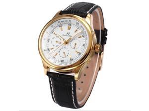 KS Leather Band Gold Case Automatic Mechanical 6 Hands Date Day Mens Watch KS094