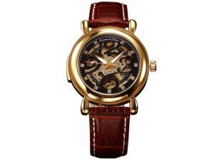 Kronen&Söhne KS104 Skeleton Luxury Automatic Mechanical Gold Case Leather Elegant Mens Wrist Watch KS104
