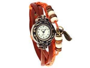 Fashion Ladies Women Leaf Pendant Weave Wrap Orange Genuine Leather Band Watch WAA486