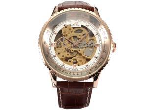 KS Royal Carving Skeleton Mens Rose Gold Case Auto Mechanical Brown Leather Watch KS113