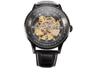 Ks Royal Carving Luxury Automatic Mechanical Skeleton Black Mens Wrist Watch KS114