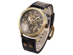 Vintage Roman Steampunk Skeleton Self-Winding Mechanical Leather Band Mens Watch PMW199