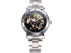 Men's Steampunk Skeleton Self-winding Auto Mechanical Stainless Man Watch Gift PMW211