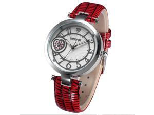 Timebear Silver Case Crystal Heart Lady Women Bracelet Band Quartz Wrist Watch WK1133 Red
