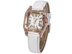 AMPM24 Rose Gold Case Bling Crystal Women's Lady White Leather Quartz Wrist Watch WAA638