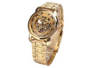 Timebear Luxury Skeleton Dial Automatic Gold Stainless Steel Mens Mechanical Wrist Watch PMW289