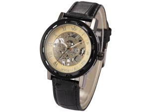Timebear Black Case Round Dial Men's Skeleton Mechanical Leather Strap Wrist Watch PMW298