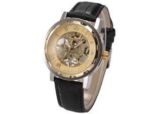 Timebear Roman Gold Skeleton Dial Mens Mehchanical Black Leather Band Wrist Watch PMW299