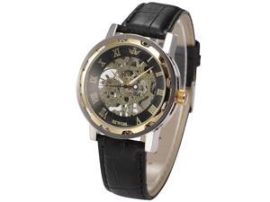 Timebear Gold Roman Black Hand-winding Men's Mechanical Hollow Skeleton Wrist Watch PMW300