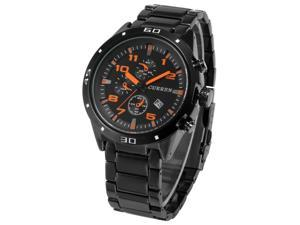 New Fashion Mens Black Stainless Steel Date Display Analog Sport Quartz Wrist Watch CUR001
