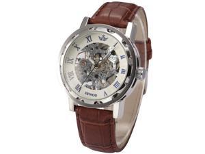 Timebear Men's Roman Skeleton Hand-winding Mechanical Brown Leather Band Wrist Watch PMW301