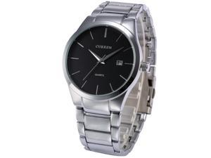 Timebear Casual Mens Silver Stainless Steel Band Date Analog Quartz Wrist Watch CUR050