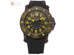 SHARK ARMY Military Mens Sport Quartz Fashion Black Rubber Band Wrist Watch Yellow SAW075