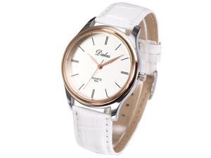 Timebear Rose Gold Round Dial Lady Women Girl White Leather Analog Quartz Wrist Watch WAA673