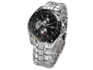 Timebear CUR021 Military Date Analog Stainless Steel Band Black Dial Men's Quartz Wrist Watch