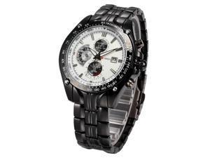 Timebear Fashion Sport Mens Black Stainless Steel Date Quartz Analog Wrist Watch CUR024