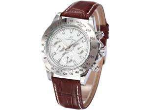 KS Imperial Day Date White Dial Brown Leather Men Automatic Mechanical Wrist Watch KS163