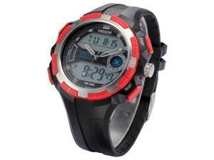 Timebear Mens LCD Dual Time Digital Quartz Alarm Stopwatch Sport Black Rubber Band Watch OHS187