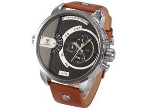 SHARK SH162 Men's Oversized Face Dual Time Date Chronograph & Sport Brown Leather Army Wrist Watch