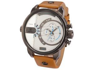 SHARK SH164 Men's Analog Dual Time Date Chronograph White Oversized Dial Brown Leather Sport Watch