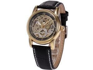 Timebear Gold Case Mens Skeleton Automatic Mechanical Black Leather Wrist Watch ORK199