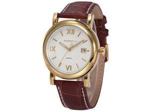 Agent X Mens Date Gold Tone Brown Leatehr Band Japan Quartz Roman Dress Wrist Watch AGX018