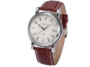 Agent X Elegant White Dial Date Brown Leather Japanese Quartz Men's Dress Wrist Watch AGX021