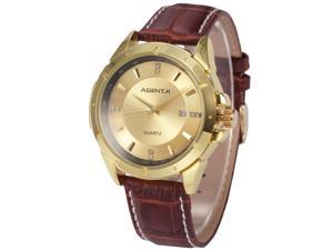 Agent X Luxury Gold Tone Case Date Japanese Quartz Men's Brown Leather Dress Wrist Watch AGX027